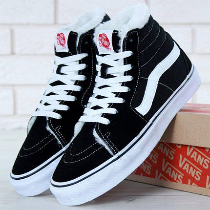 Зимние кеды Vans Old Skool high CANVAS SK8-HI с мехом, (унисекс), vans old school, ванс олд скул, фото 2