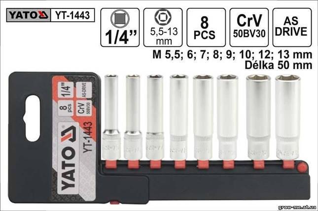 """Набір високих торцевих головок 1/4"""" 8 шт. YATO YT-1443, фото 2"""