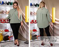 Блуза-рубашка длинный рукав ассиметричный низ коттон 50,52,54, фото 1