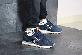 Мужские кроссовки New Balance 574 замшевые,темно синие, фото 2