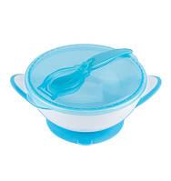 Тарелка с присоской и крышкой и ложкой, BabyOno, тарелка на присоске, тарелка для прикорма, мисочка, фото 1