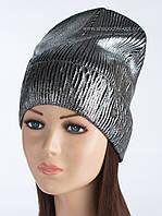 Удлиненная шапка вязаная Philipp Plein черный+серебро