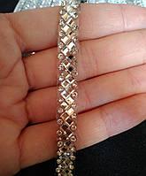 Тесьма горячей фиксации. Стразы Crystal, шир. 0,8 см. Цена за 0,5 м