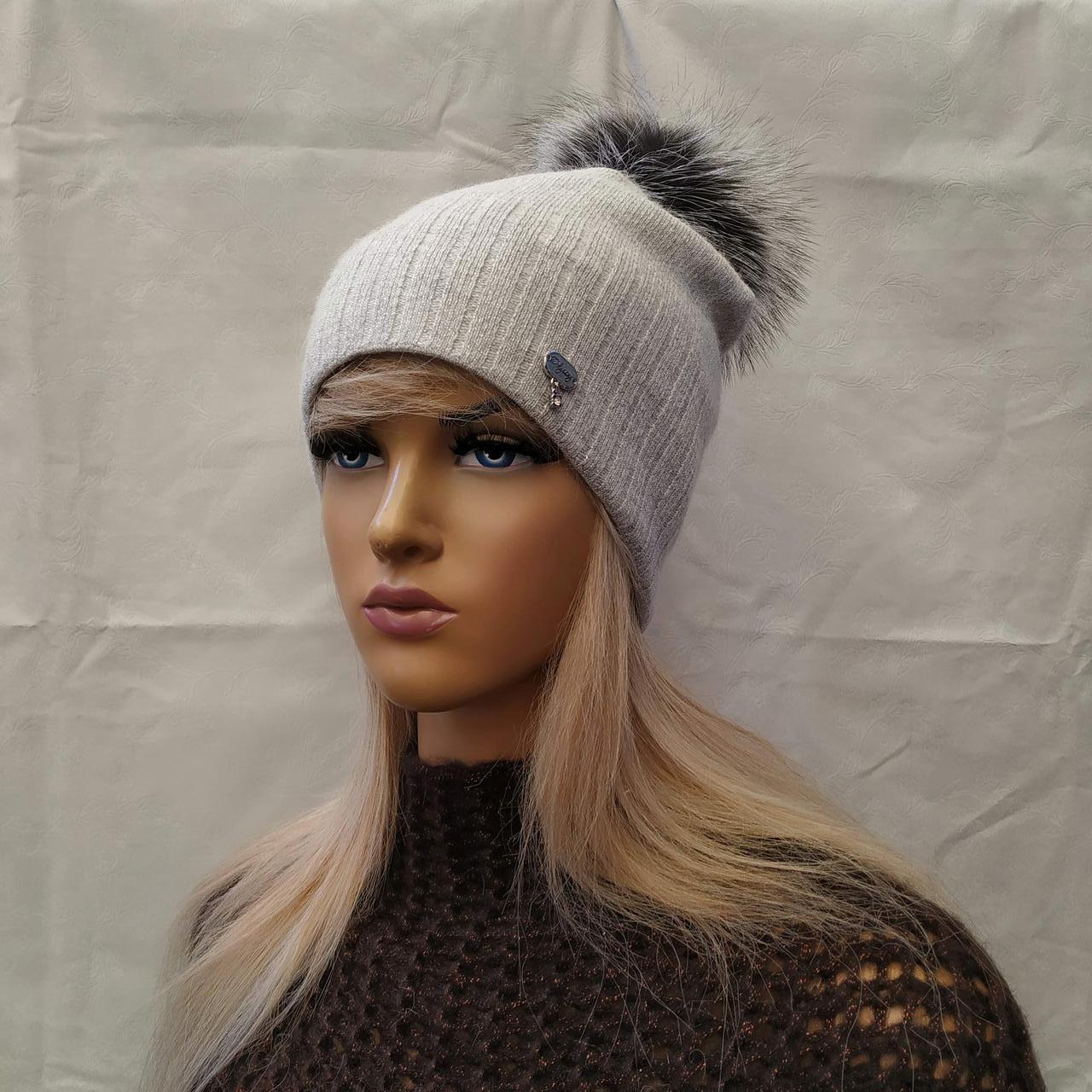 Молодежная шапка  с ЛЮРЕКСОМ  с бубоном Жанна ODYSSEY светлосерый 43843