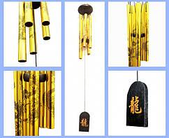 9250068 Поющие ветра 5 трубочек Чёрные Драконы Золотой цвет