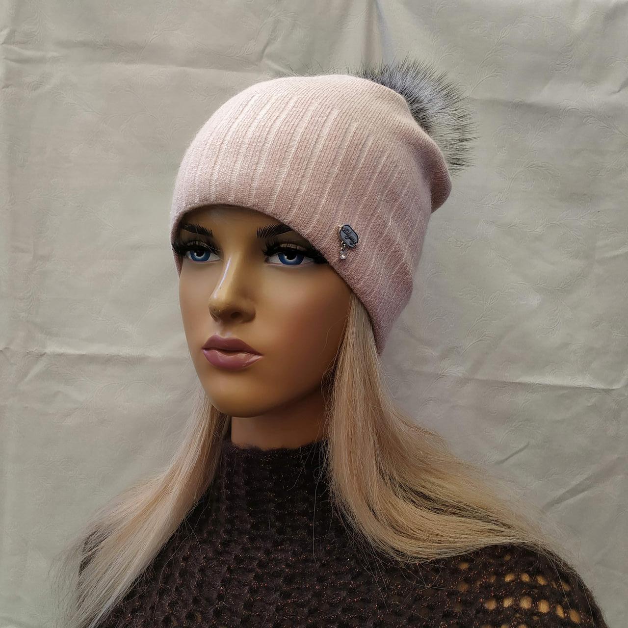 Молодежная шапка  с ЛЮРЕКСОМ  с бубоном Жанна ODYSSEY роуз 43843
