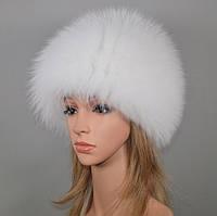 Женская шапка мех лисы цвет белый