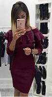 Красивое платье с рюшей (цвет - бордо, ткань - ангора софт) Размер S, M, L (розница и опт)