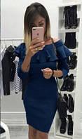 Красивое платье с рюшами (цвет - синий, ткань - ангора софт) Размер S, M, L (розница и опт)