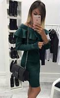 Платье с рюшами (цвет - зеленый, ткань - ангора софт) Размер S, M, L (розница и опт)