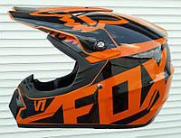 Кроссовый мото шлем чёрно-оранжевый эндуро Fox размер L 59-60