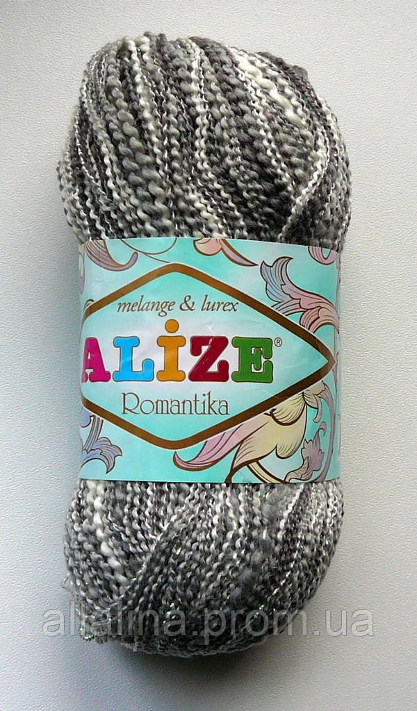 Пряжа ALIZE Romatika. Melange & Lurex. color 50886 (серый меланж)