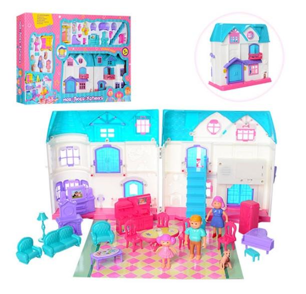 Домик для кукол 1205AB с мебелью и человечками, средний, звук, свет