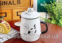 Кружка керамическая Cat с крышкой