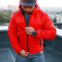 Куртка мужская осенняя стеганая с капюшоном красная ромбик