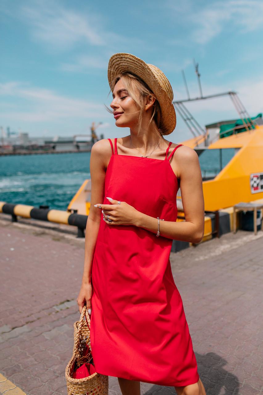 Яркое летнее платье (цвет - красный, ткань - софт) Размер S, M, L (розница и опт)