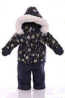 Зимний костюм с меховой подстежкой Ноль Темно-синий Микки Маус