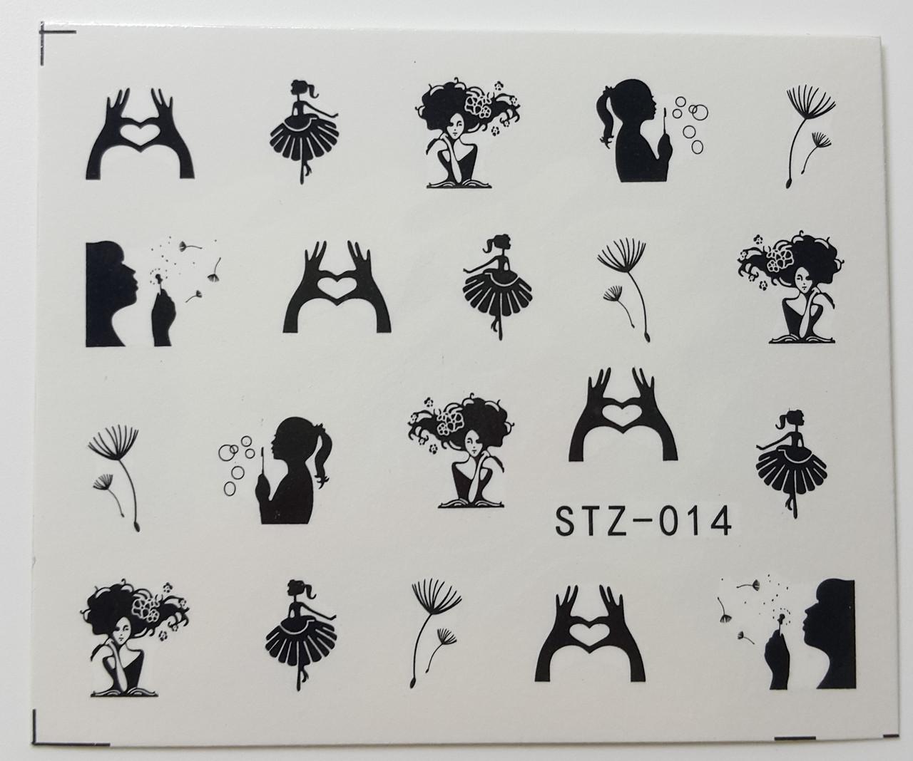 Наклейка для ногтей STZ-014