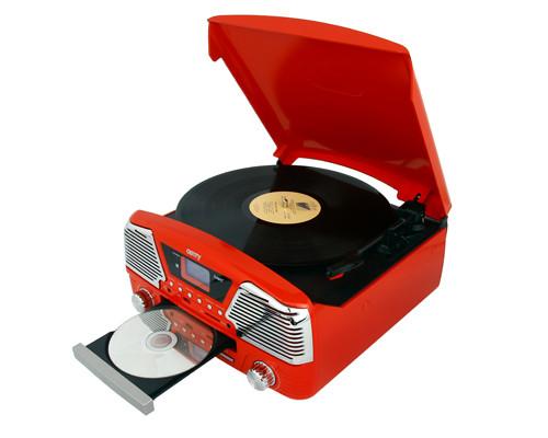 Музыкальный проигрыватель-грамофон Camry CR 1134 r - ГРАМПЛАСТИНКИ /CD /MP3 / USB/ SD