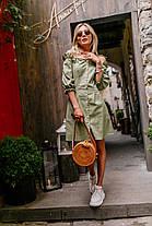 Лянное платье (цвет - оливковый, ткань - софт) Размер S, M, L (розница и опт)