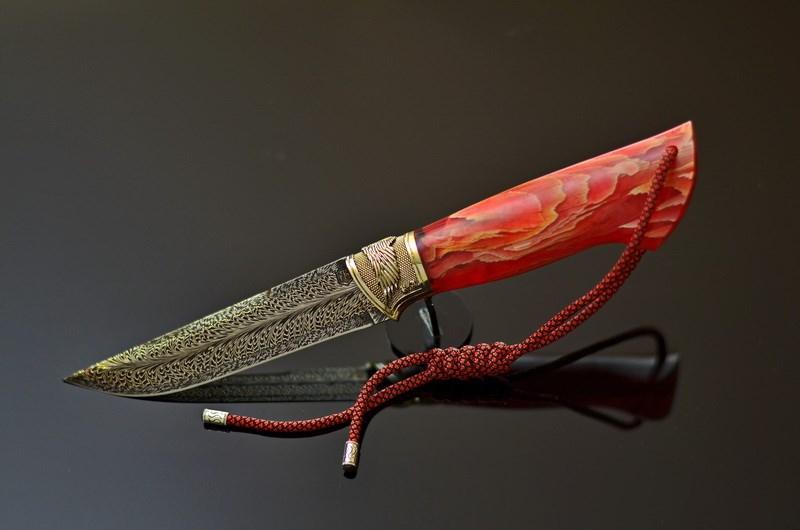 """Авторский нож ручной работы """"Пылкий"""" из мозаичного дамаска. Необычный подарок мужу, любимому мужчине"""