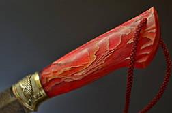 """Авторский нож ручной работы """"Пылкий"""" из мозаичного дамаска. Необычный подарок мужу, любимому мужчине, фото 3"""