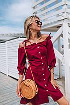Яркое лянное платье (цвет - вишня, ткань - софт) Размер S, M, L (розница и опт)