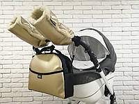 Комплект сумка и рукавички на коляску Z&D New Еко кожа (Золотой)
