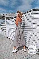 Лянное платье летнее (цвет - серый, ткань - софт) Размер S, M, L (розница и опт)