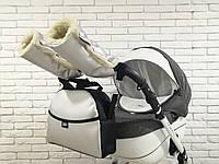 Комплект сумка и рукавички на коляску Z&D New Еко кожа (Серебряный), фото 1