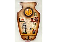 Деревянная ключница с часами (30 х 18.5 см). Органайзер для ключей настенный