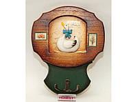Деревянная ключница (19.5 х 16 см). Органайзер для ключей настенный