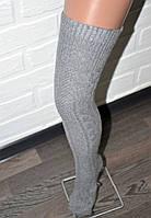 Зимние серые шерстяные гетры женские (гольфы), теплые вязаные шерстяные гольфы