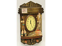 Деревянная ключница с часами (41 х 20 см). Органайзер для ключей настенный