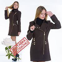 Демисезонное пальто из кашемира на молнии L 079002 Коричневый, фото 1
