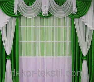 "Комплект штор ""Посейдон""+лабрекен+тюль (Зеленый), фото 2"