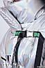 Стильная блестящая осенняя женская куртка на застежках лентах на металлических фастексах, фото 6