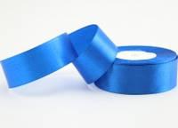 Лента атласная 2,5 см. 23 метра синяя