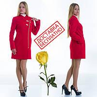Женское кашемировое пальто на молнии L 129007 Красный, фото 1