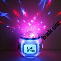 Часы-будильник с проектором звезд, ночник