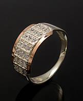 Кольцо серебряное 925 пробы с накладками золота 375 пробы., фото 1
