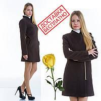Женское кашемировое пальто на молнии L 129007 Шоколад, фото 1
