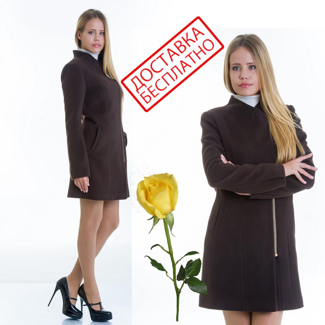 Женское кашемировое пальто на молнии L 129007 Шоколад