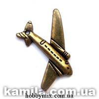 """Метал. подвеска """"самолет"""" бронза (2,6х3 см) 5 шт в уп."""