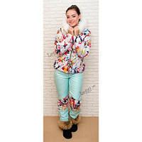 Женский зимний костюм, короткая куртка и узкие брюки