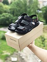 Мужские сандали в стиле Yuves, кожа, черные *** 40 (25,3 см)