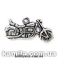 "Метал. подвеска ""мотоцикл"" серебро (2,4х1,6 см) 8 шт в уп."
