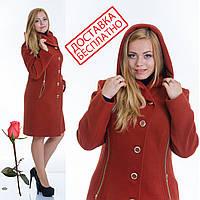 Демисезонное пальто с капюшоном L 099012 Терракот, фото 1