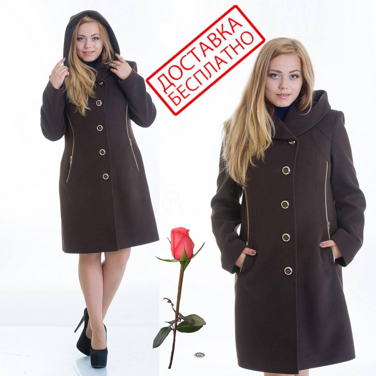Демисезонное пальто с капюшоном L 099012 Шоколад