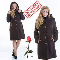Демисезонное пальто с капюшоном L 099012 Шоколад, фото 1